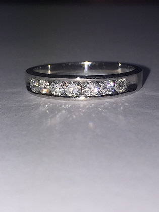 Channel Set Diamond Band in 18K White Gold