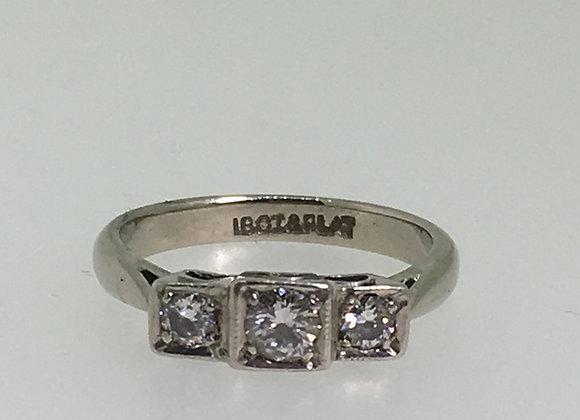 Platinum/18K Gold 3-Stone Diamond (0.30ct) Ring