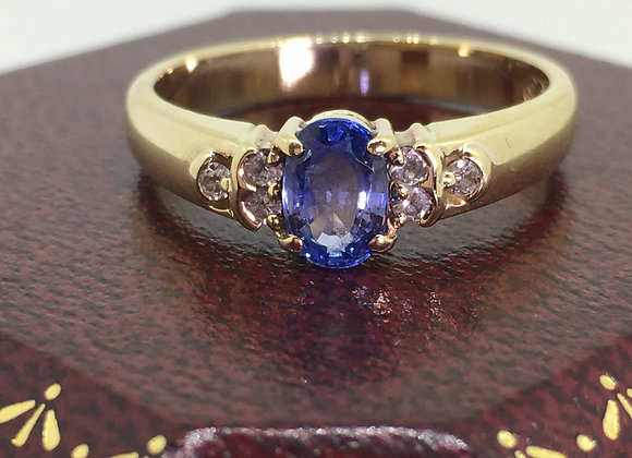 0.50ct Oval Sapphire & Diamond Ring in 9K Yellow Gold