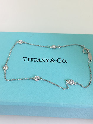 "Tiffany & Co Elsa Peretti 950 Platinum ""Diamonds By The Yard"" Bracelet"