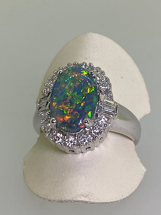 3.00ct Australian Black Opal (12 x 8mm) & 0.56ct Diamond Ring