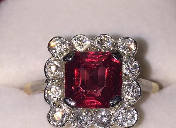 Fine Burmese Spinel & Diamond Ring