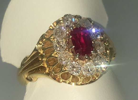 An Antique circa 1880 Ruby & Diamond Handmade Cluster Ring