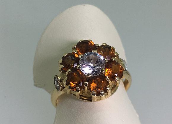 Diamond & Golden Citrine Daisy Shaped Ring in 9K Gold