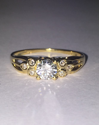 Solitaire with Accents 0.37ct Diamond Ring