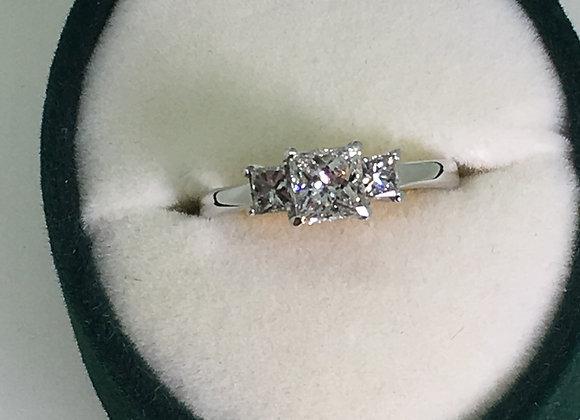 Three Stone Princess Cut Diamond Ring in 18K White Gold