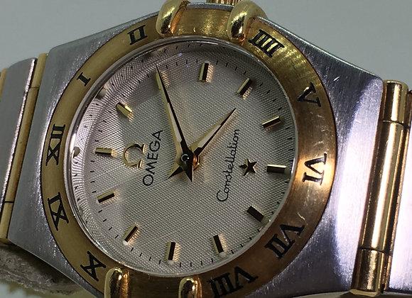 18K Gold & Steel Omega Constellation Quartz Ladies' Wristwatch ref 1212.10.00