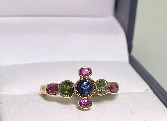 Gold, Multi Gem: Ruby, Sapphire, Tourmaline Cross-Shaped Ring + FREE re-sizing!