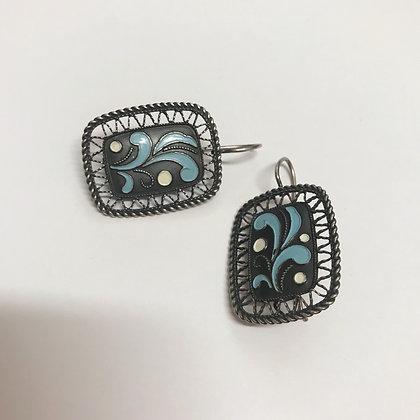 916 Silver and Blue/White Enamel Vintage Earrings