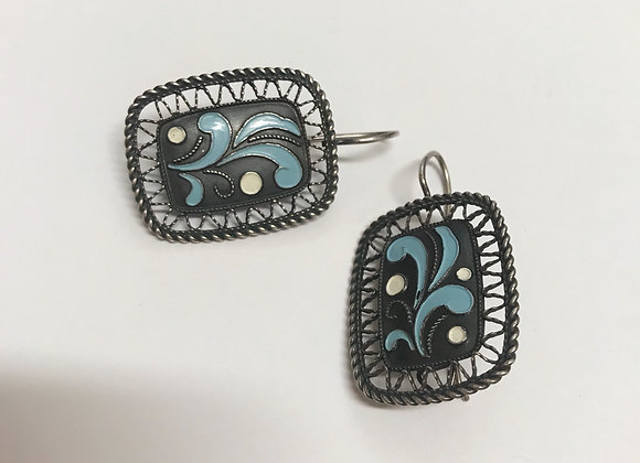 916 Silver and Blue/White Enamel Vintage Earrings
