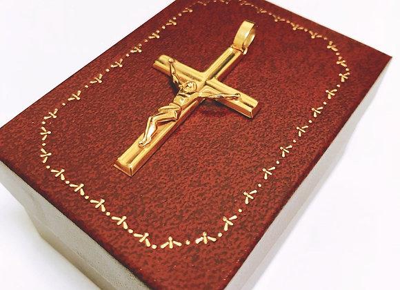 9K (375) Yellow Gold Jesus Christ Cross/Crucifix Pendant