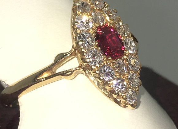 Victorian Marquise Shaped Diamond & Ruby Ring