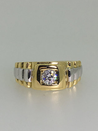 Diamond & 18K Two-Tone Gold ROLEX Style Mens' Ring