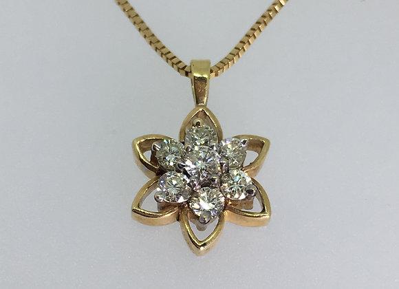 18K Rose Gold & 0.40ct Diamond Daisy Shaped Pendant