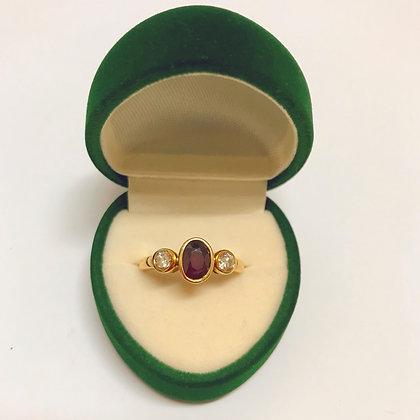 1.10ct Ruby & Diamond Vintage Ring