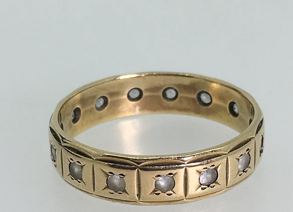9K Yellow Gold & Quartz Band by WJ Co. Birmingham, c1917.
