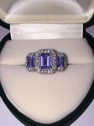 Tanzanite & Diamond Handmade Ring