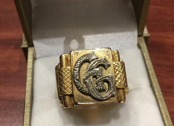 Art-Deco Hidden Compartment Signet Gold Mens' Ring
