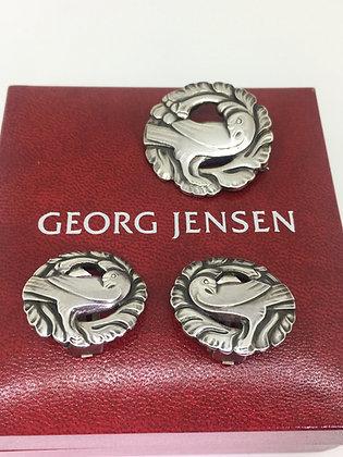 Georg Jensen 925 Sterling Silver Dove Bird Brooch #134 & Clips #66