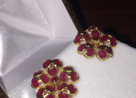 A Pair of Flower Shaped Cluster Ruby Earrings
