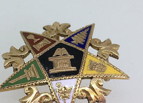 "Masonic ""Order of the Eastern Star"" 9K Gold & Enamel Brooch/Pendant"