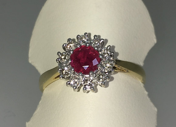 Burmese Ruby & Diamond Daisy Ring, London, 1960's