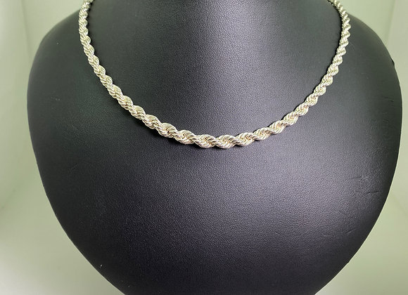 925 Sterling Silver Twisted Rope Chain Necklace. 50cm.