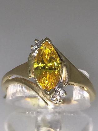 Golden Zirconia & Diamond ring