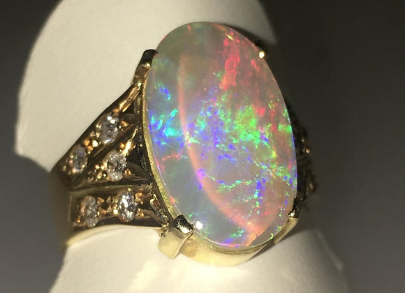 4.50ct Solid Crystal Opal & 0.50ct Diamond Ring in 18K Yellow Gold