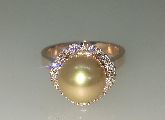 Golden Pearl & Diamond Ring in 18K Rose Gold