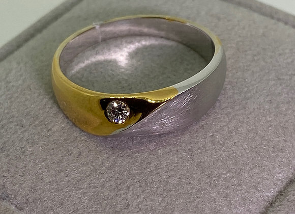Two-Tone 18K White & Yellow 0.10ct Diamond Band / Men's Ring