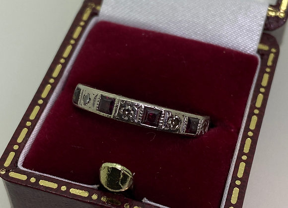 Retro 1950's Ruby (0.60ct) & Diamond Half Eternity Band in 18K White Gold