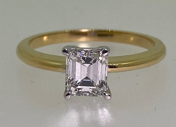 Magnificent 0.83ct Emerald Cut Diamond Solitaire Ring (G/VS) in 18K Gold.
