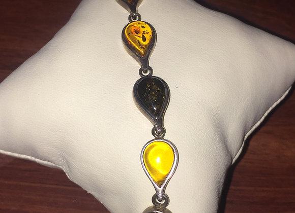 925 Sterling Silver & Amber Bracelet