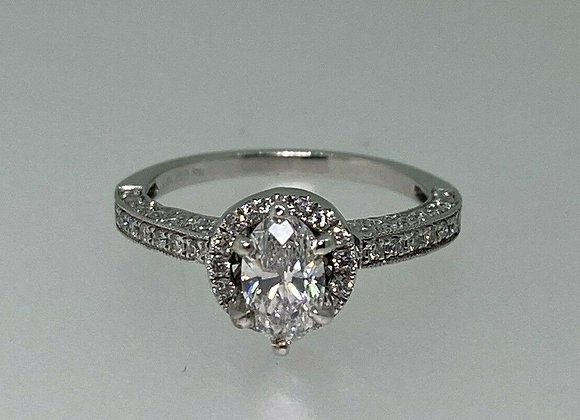 0.54ct Oval Diamond Solitaire with Accents Ring in 18K Gold
