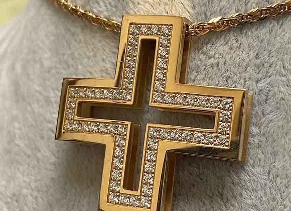 Roger Dubuis 18K Rose Gold & Diamond Greek Cross Pendant & Chain
