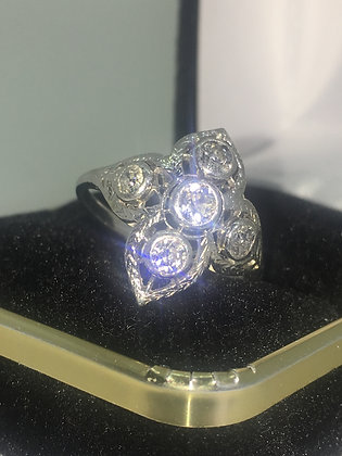 Platinum & 5 Old-European cut Diamond Ring by W. Drummond