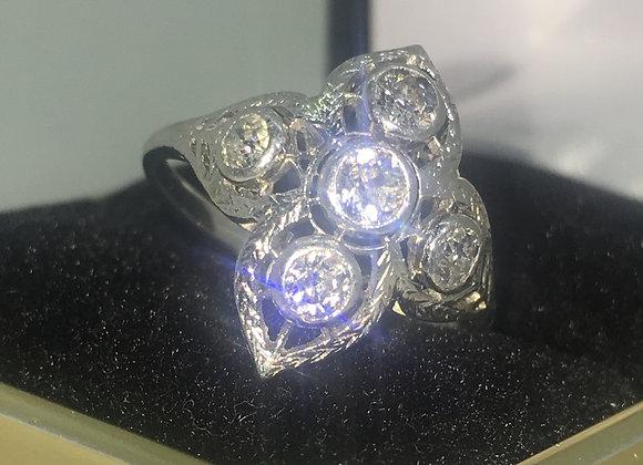 Platinum & 5 Old-European cut Diamond Ring by W. Drummond