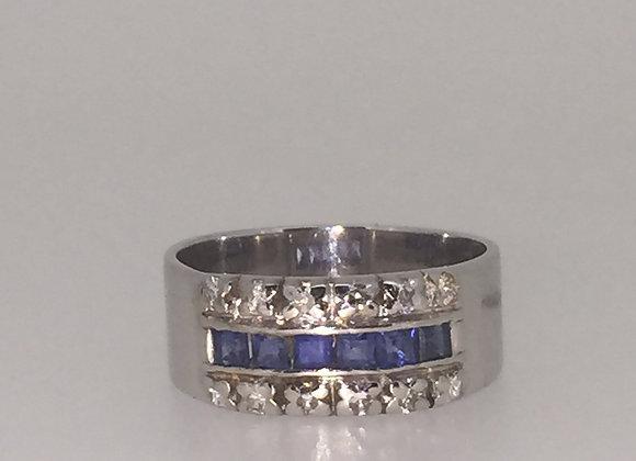 Sapphire & Diamond Unisex ring in 18K White Gold