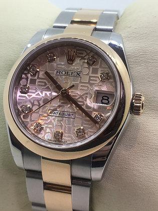 18K Rose Gold/Steel ROLEX DateJust ref 178241 Pink Jubilee Diamond Dial Watch