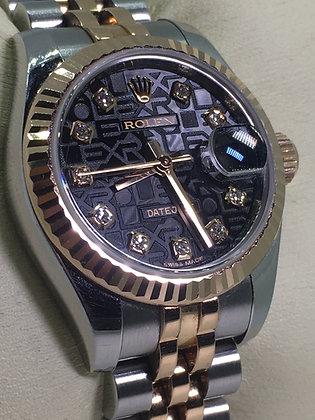 18K Rose Gold/Steel ROLEX DateJust 26 Black Jubilee Diamond Dial ref179171 Watch