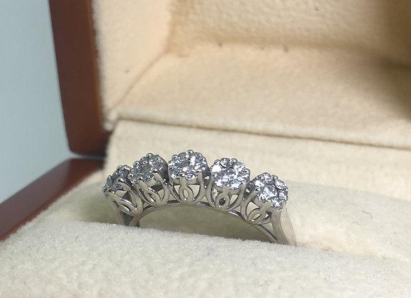 5-Stone Design Daisy Style Half Hoop Diamond Ring in 18K White Gold