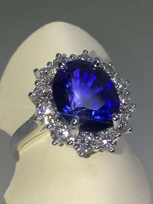 5.00ct Royal Blue Sapphire, Diamond Princess Diana Style Ring