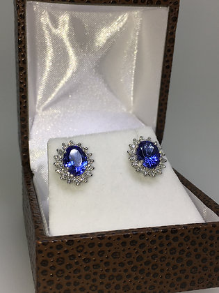 Vivid Violet Blue Tanzanite & Diamond Stud Earrings