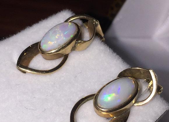 9K Yellow Gold & Solid Opal Earrings/Clips