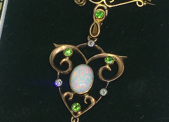15K Gold, Opal, Diamond & Peridot Handmade Brooch