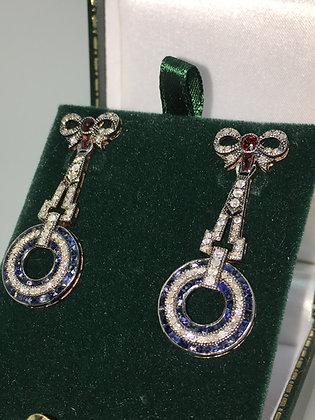Rose Cut Diamond, Garnet & Sapphire Earrings in Silver Gilt