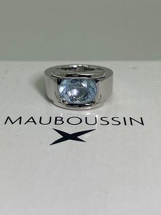 Aquamarine Ring in 18K White Gold by Mauboussin, Paris.