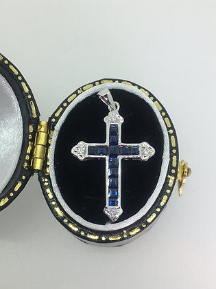 Sapphire & Diamond Cross/Crucifix Pendant in 18K White Gold