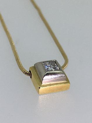 Two-Tone 18K Gold Princess Cut Diamond Pendant